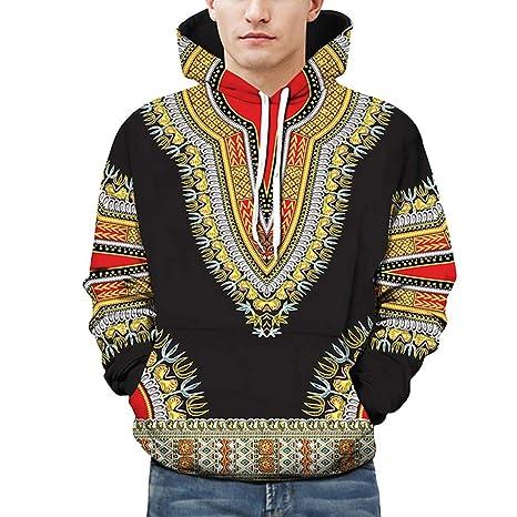 Yazidan Liebhaber Herbst Winter Afrikanisch 3D-Druck Lange äRmel Hoodies Sweatshirt Oben MäNner BeiläUfig Fahren Taschen Mant