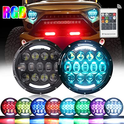 105W RGB Led Headlights 7 Inch Round Headlight with Remote Controller High/Low Beam DRL Headlamps for Jeep Wrangler JK TJ JL CJ AM General Hummer (105W 2PCS): Automotive