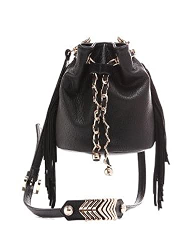 2fade5b734 Beaute Bags Gold Chain Drawstring Cross-Body Bucket Bag in Vegan Black  Leather