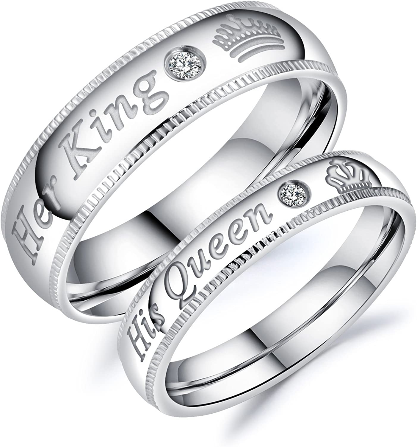 Amazon Com Titanium Stainless Steel Her King His Queen Band Ring
