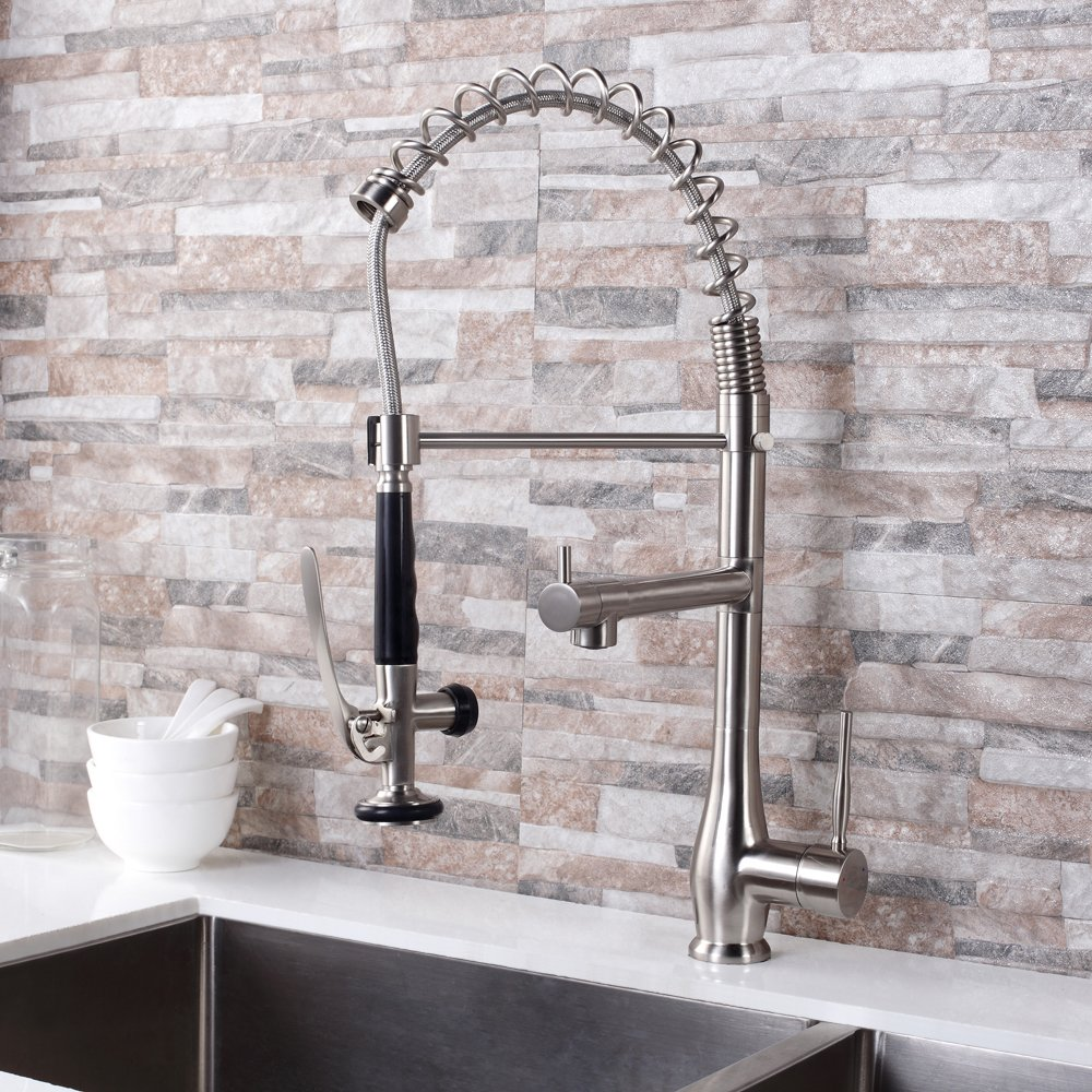 GhomeG Single Handle Pull Down Spray Kitchen Faucet Commercial Style Pre-rinse with Lock Sprayer, Brushed Nickel by GhomeG (Image #2)