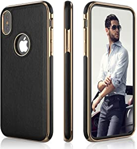 LOHASIC for iPhone Xs Case, Leather Case for iPhone X, Slim Anti-Slip Grip Flexible Soft TPU Bumper Drop Proof Full Body Protective Phone Cover Cases for iPhone Xs & iPhone X 10 Case 5.8