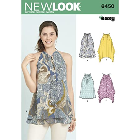 New Look Sewing Pattern 6450a Misses Easy Tops With Optional Neck