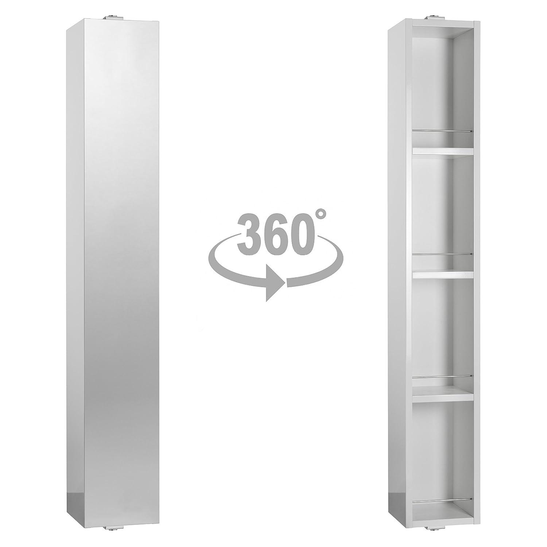 Habitat Miya White Gloss Large Spin Rotating Bathroom Cabinet with ...
