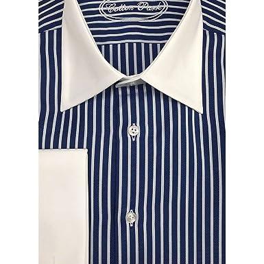 nouveau style 3433b 9942e Cotton Park - Chemise col Blanc à Rayures Double retors ...