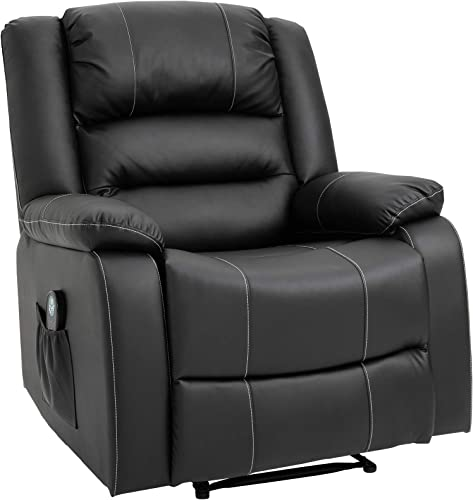 HOMCOM Vibrating Massage PU Leather Recliner Chair, Footrest with Remote Control, 8 Massaging Points, Black