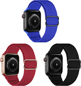 OXWALLEN Nylon Stretchy Solo Loop Compatible with Apple Watch Band 42mm 44mm, Braided Adjustable Straps for iWatch SE Series 6/5/4/3/2/1,Royal Blue/Burgundy Red/Black