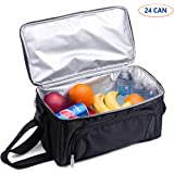 Cooler Bag, 24-Can Soft Insulated Double Deck with Adjustable Shoulder Strap and Pass Through Pocket for Luggage