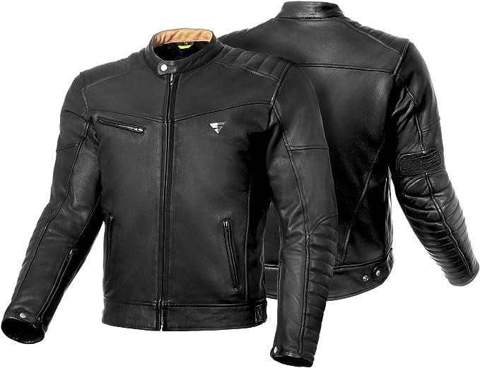 Shima Winchester Herren Motorradjacke Mit Protektoren Leder Stadt Classic Vintage Motorrad Jacke Schwarz Bekleidung
