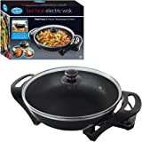 Quest Electric Non-Stick Wok with Lid - Rapid heating 1500w Portable Wok Cooker with Precise Temperature Control