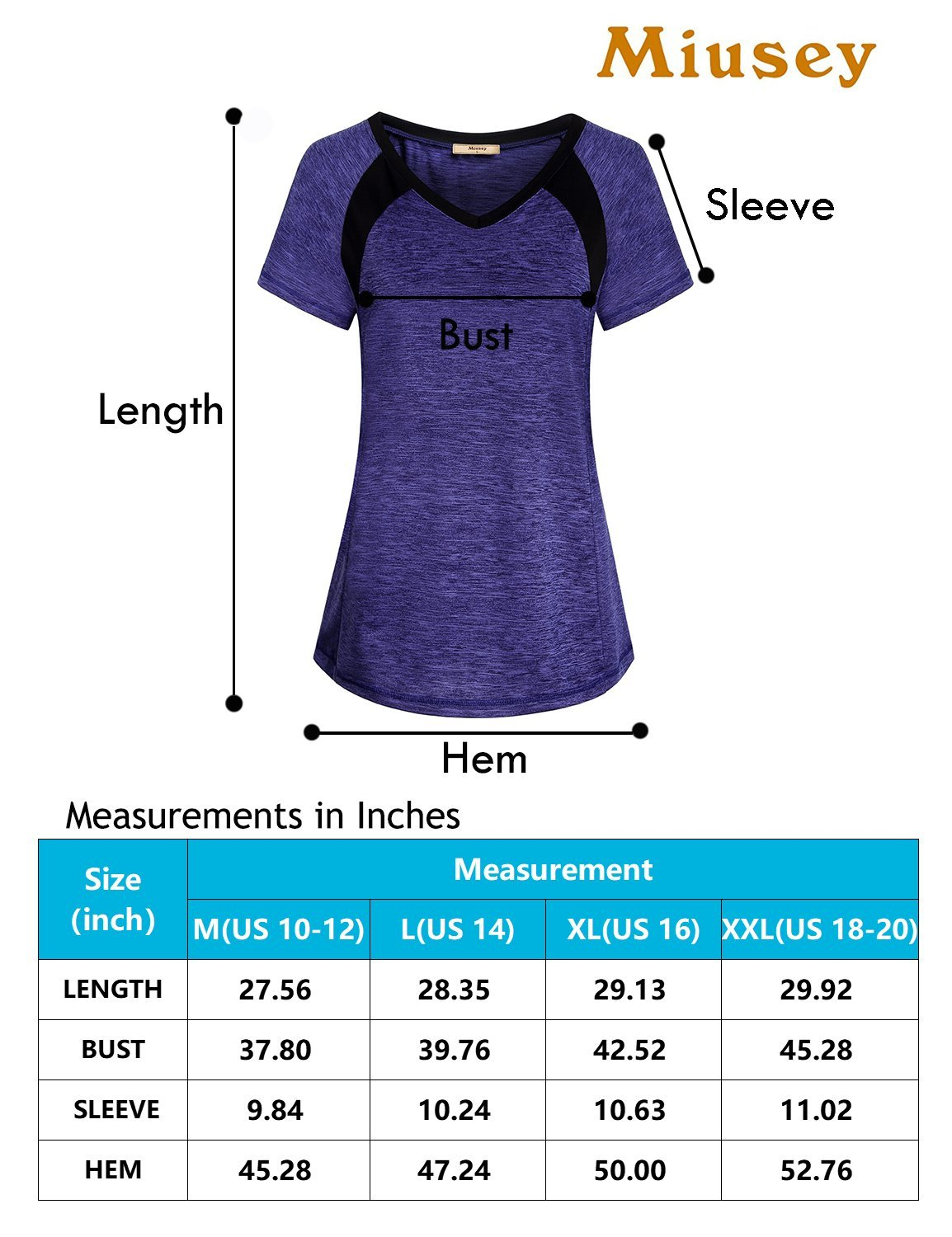 Miusey Sports Shirts for Women, Ladies Gym Workout Short Sleeve V Neck Tee Activewear Raglan Top Jr Clothes Color Block Plain Outwear Classic Heathered Black M by Miusey (Image #3)