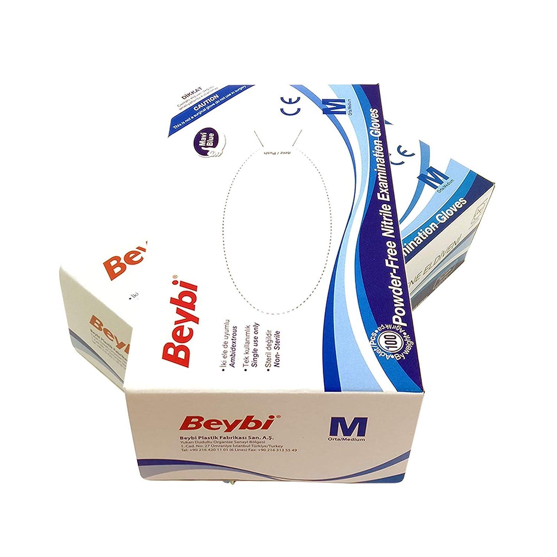 Guantes de Nitrilo sin polvo RF05 Caja de 100pc Azul.Talla M, Máxima protección, suavidad y elasticidad. Indicado para hospitales, alimentación, ...