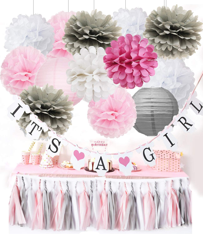 Furuix Baby Shower Decorations Its A Girl Banner Rosa Grigio Bianco Nappa Ghirlanda di carta Lanterne Carta velina Pom Pom per Baby Shower Decorazione ragazza//Rosa Bianco Birthday Party Decor
