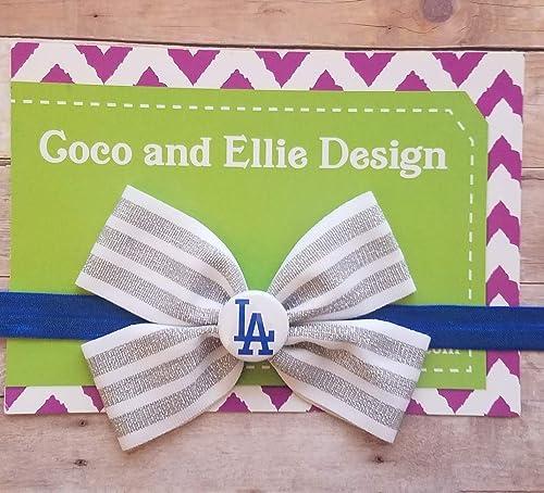 LA Dodgers Baby Girl Boutique Bow Elastic Headband
