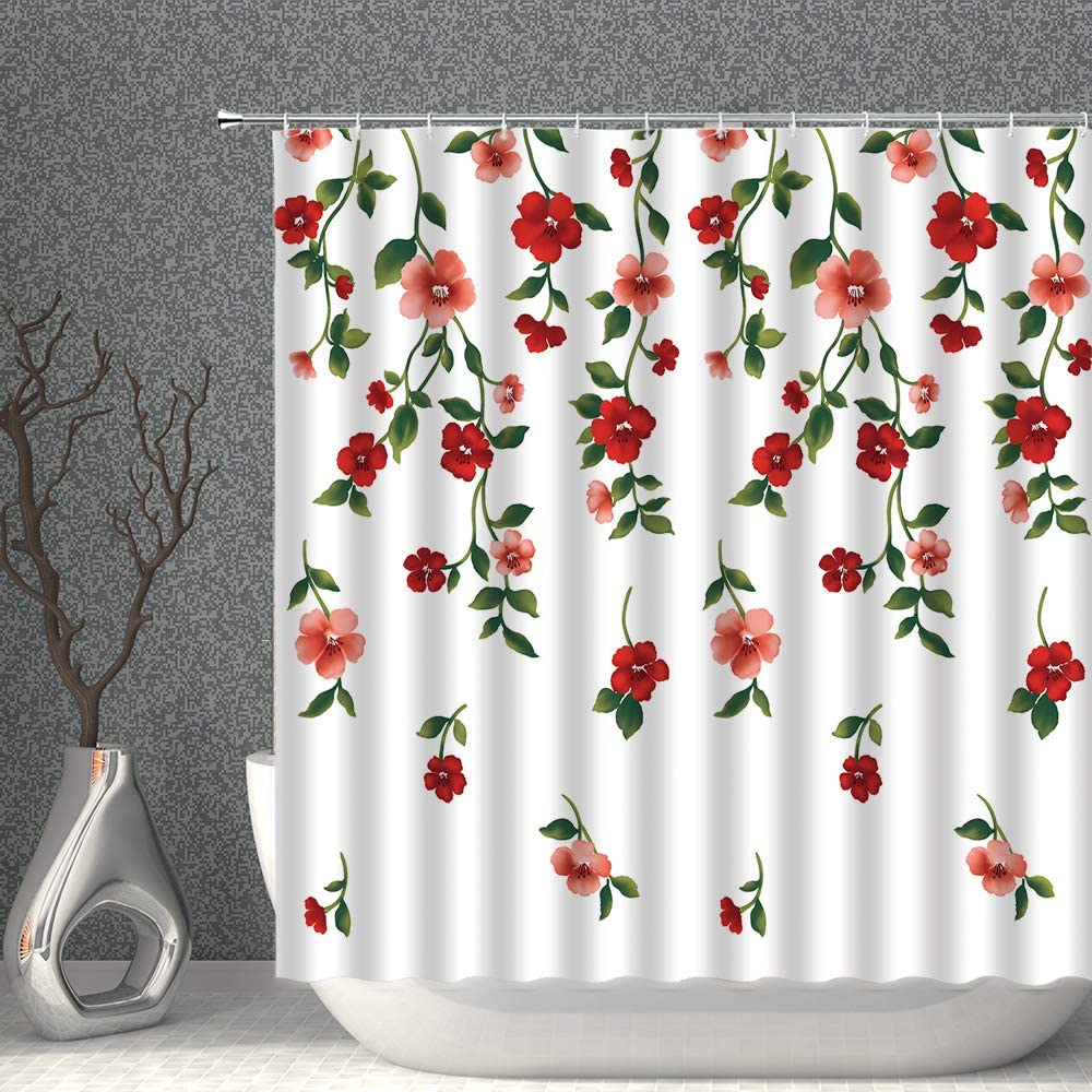 AMNYSF Watercolor Floral Decor Shower Curtain Spring Flower Red Pink Wildflowers Green Leaves Nature Scenic Fabric Polyester Bathroom Curtains with Hooks 70x70 Inch