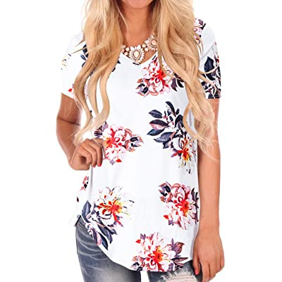 NIASHOT Women's Short Sleeve Loose Casual V-Neck Floral T-Shirt Tops at Women's Clothing store