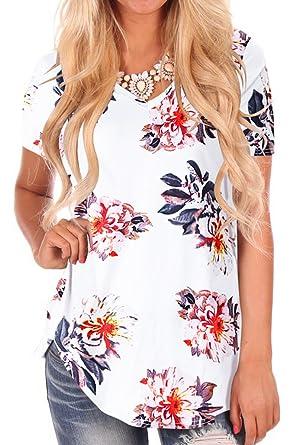 11d513c017d112 NIASHOT Women's Short Sleeve Loose Casual V-Neck Floral T-Shirt Tops ...