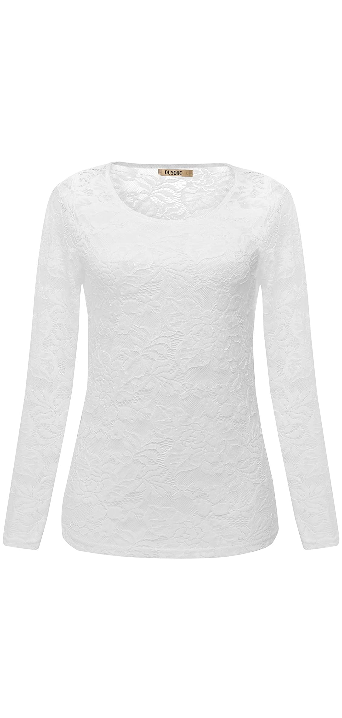 Womens Casual Tops Floral Lace Hollow Long Sleeve Shirt