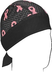 ZANheadgear Vented Sport Flydanna Bandanna, 100% Polyester Mesh, Breast Cancer Pink Ribbon Black