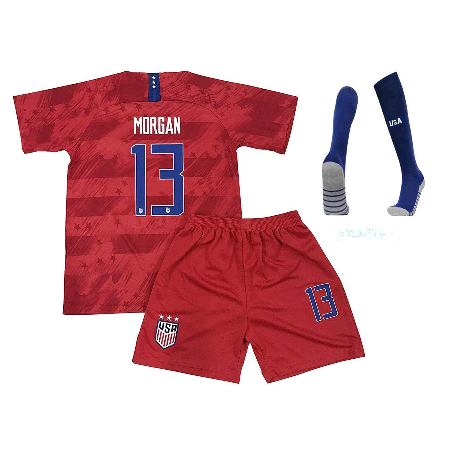 Alex Morgan 13 USA Youth/Kid 20season Home/Away T-Shirt Socks (Red, 22) by Shenyizhu