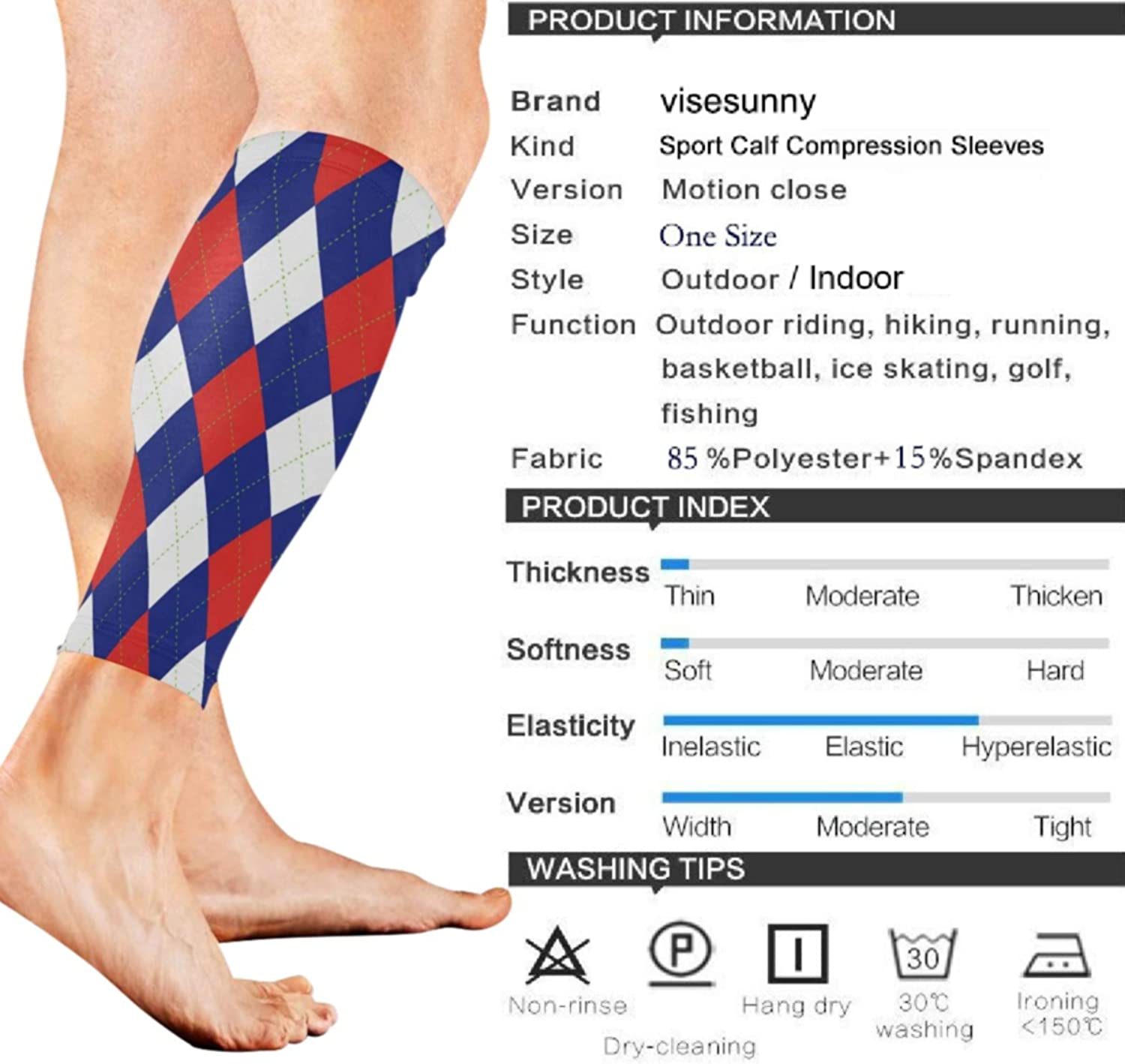 visesunny Argyle Plaid Pattern Sports Calf Support Sleeves for Muscle Pain Relief, Improved Circulation Compression – Effective Support for Running, Jogging,Workout(1 Pair)