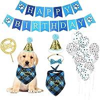 KissUrpet Suministros para fiestas de cumpleaños de perro, con pañuelo de cumpleaños para perro, lindo banner de feliz…