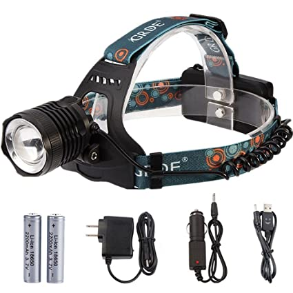 GRDE Zoomable Headlamp 3-Mode - Rechargeable and Water-resistant