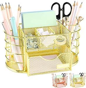 Spacrea Desk Organizers and Accessories, Office Organizer Pencil Holder for Desk, Desk Office Supplies Organizer (Gold)