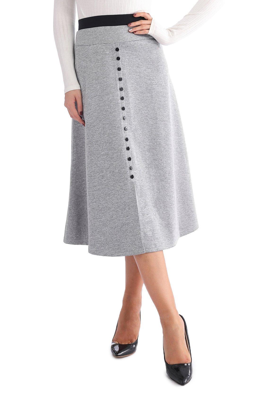 JOAUR Spacedye A-LINE Skirt for Womn Decor Button Front Slit Midi Dress