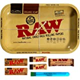 RAW Rolling Tray Combo Includes Tray, 1 1/4 Classic Rolling Papers, 79 mm Rolling Machine, Original Tips, and Roll with…