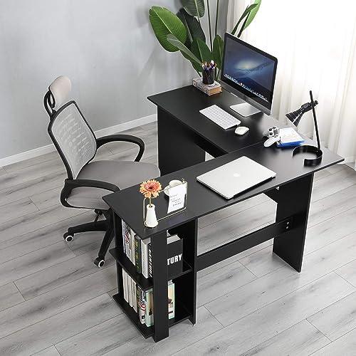 sogesfurniture L-Shaped Home Office Wood Corner Desk Office L-Shaped Desk