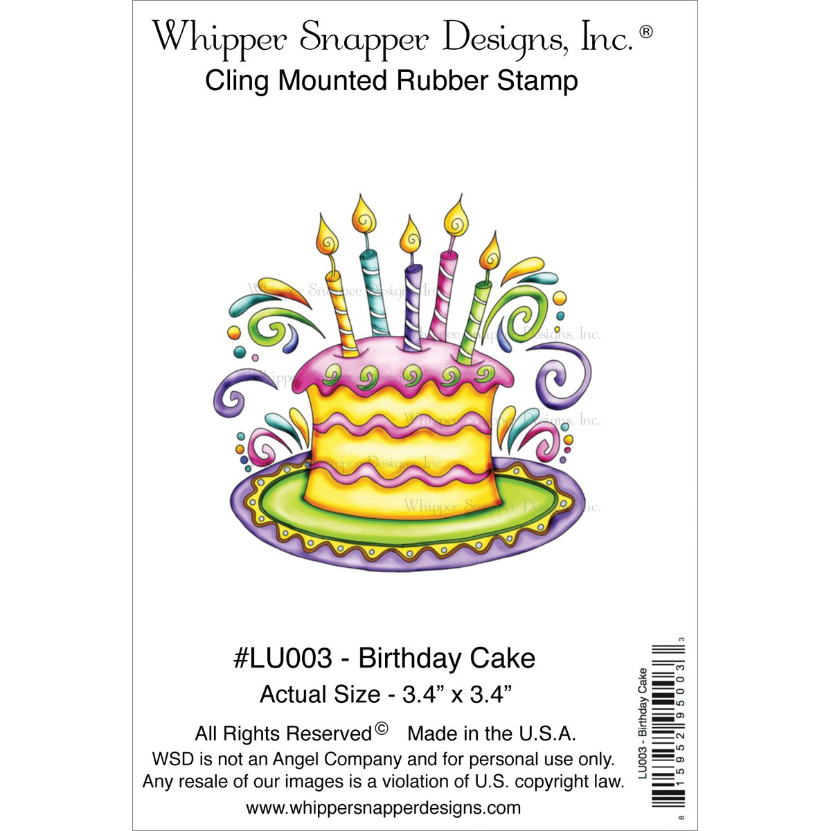 Amazon Whipper Snapper Designs LU003 Birthday Cake Cling Stamp 425 By 7 Arts Crafts Sewing