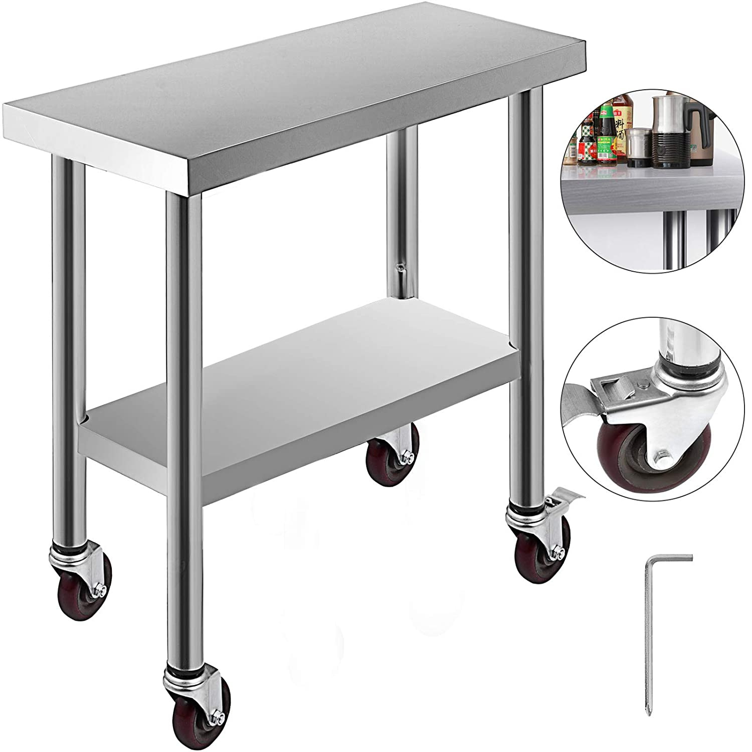 Mophorn Stainless Steel Work Table 30x12x34 Inch 3 Stage Adjustable Shelf with 4 Wheels Heavy Duty Commercial Food Prep Worktable with Brake