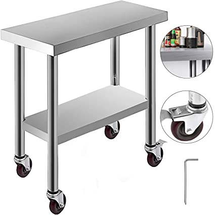 Sensational Kitgarn Stainless Steel Catering Work Table 30X12 Inch With 4 Wheels Commercial Food Prep Workbench With Flexible Adjustment Shelf For Kitchen Prep Andrewgaddart Wooden Chair Designs For Living Room Andrewgaddartcom
