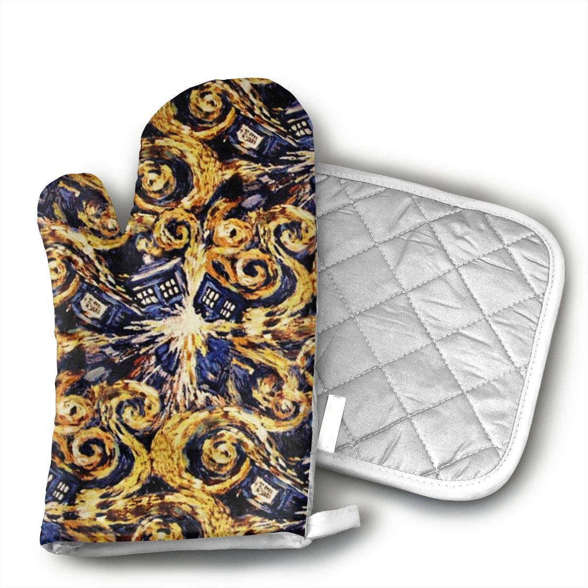 Doctor Who Exploding Tardis Oven Mitts and Pot Holders Set with Polyester Cotton Non-Slip Grip, Heat Resistant, Oven Gloves for BBQ Cooking Baking, Grilling