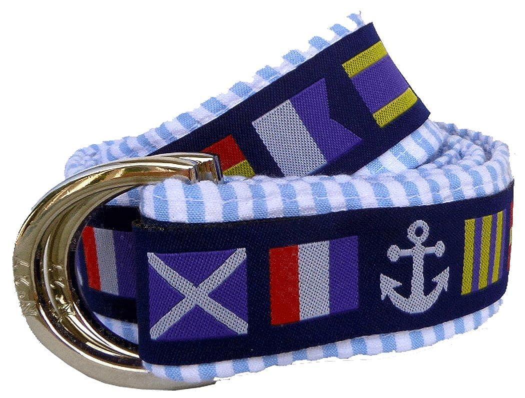 No27 Girl's Nautical Flags Seersucker Belt, Nautical Flags Ribbon on Blue Seersucker