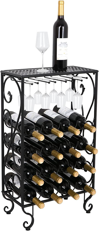 Vintage Style Wine 8 Bottle Holder Stand Black Metal Organiser Rack Storage