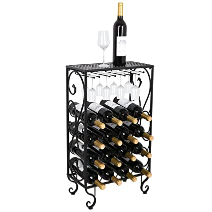 Amazoncom Smartxchoices 16 Bottle Black Finished Table Top Wine