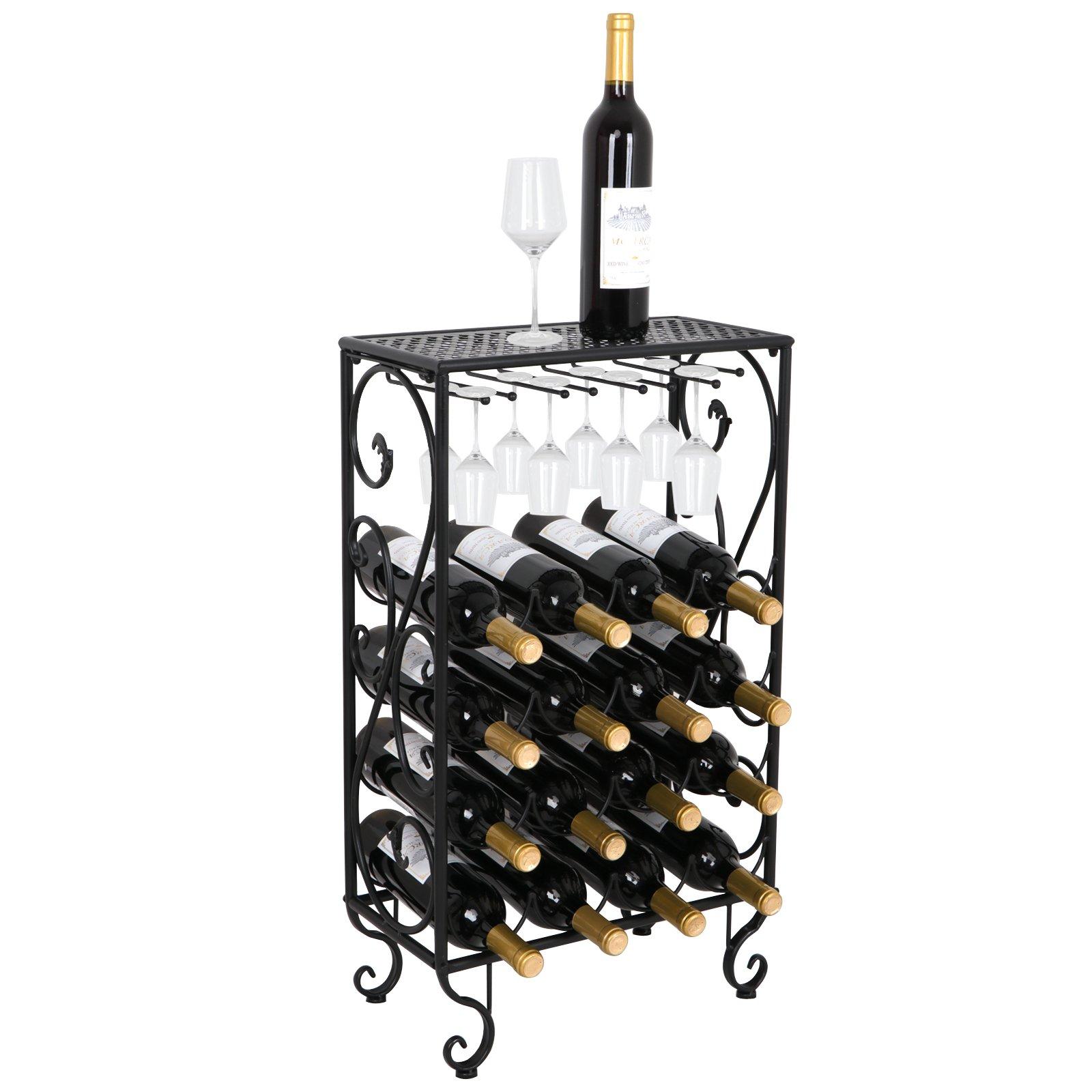 ZENY 16 Bottle Wine Storage Rack,Wine Bottle Holder Origanizer Display Rack Free Standing w/Glass Holder and Counter Top,Steel