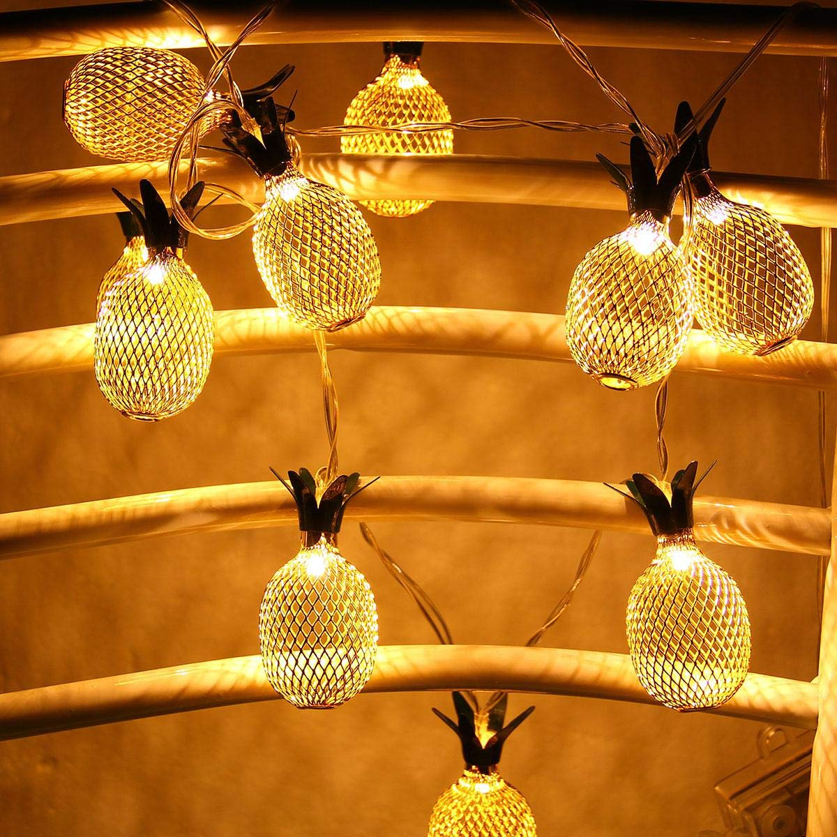 Pineapple String Lights, 200in/5m 40 LED Bulbs WaterproofSolar ChargingLantern String Lights with 2 Light Mode Fairy Lights for Wedding Garden Festival Party Halloween Christmas Indoor & Outdoor by Umiwe (Image #6)