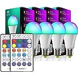Lâmpada Inteligente ZHIANG Kit de 4, Compatível com Alexa e Google Assistente, 2700k-6500k RGB dimerizável, A60 E27 220V 10W