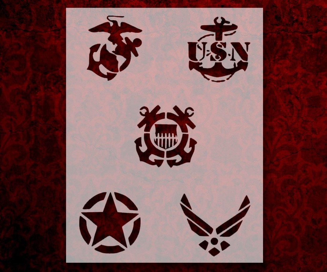 Military Army Air Force Navy Marines Coast Guard 8.5x11 Stencil FREE SHIPPING 254
