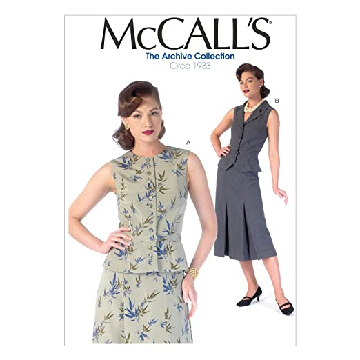 1930s Dresses, Clothing & Patterns Links McCall Pattern Company M7056 Misses Vests Sewing Template A5 (6-8-10-12-14) $1.71 AT vintagedancer.com