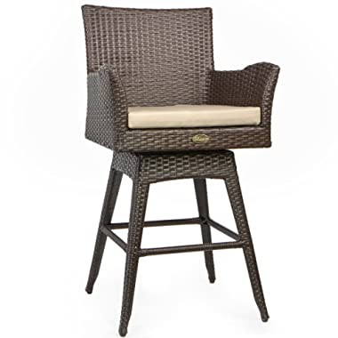 Barton Rattan Crawford Outdoor Patio Swivel Bar Stool w/ Sunbrella Fabric Cushion