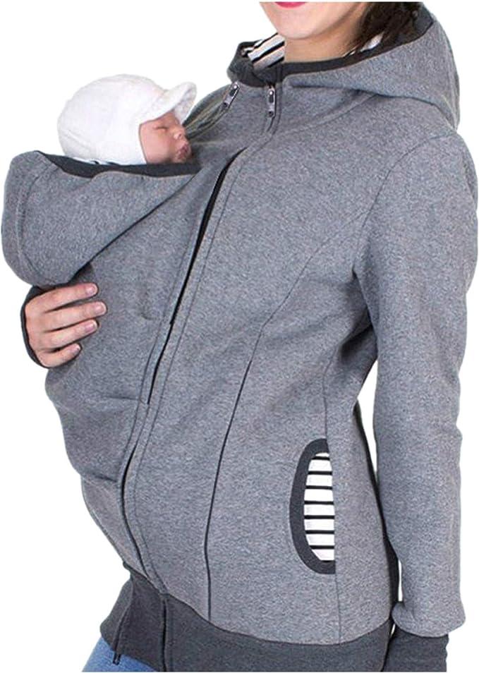 QinMM Chaqueta Canguro para Padres Premamá Mujer, Sudadera Abrigo con Capucha de Maternidad Embarazada Lactancia Invierno (Gris, M): Amazon.es: Ropa y accesorios