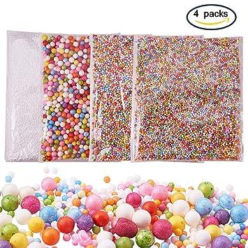 ENCOCO - Bolas de Espuma Finas para decoración, Perlas de pecera, tarros de Purpurina, rebanadas, Perlas, Accesorios de Papel de azúcar Coloridos, ...