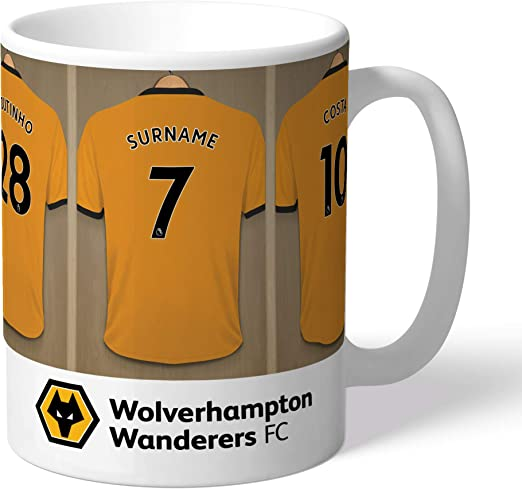 Personalised Official Wolves Dressing Room Mug