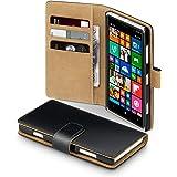 Terrapin Premium Leather Wallet Case for Nokia Lumia 830 (Black - Tan Interior)
