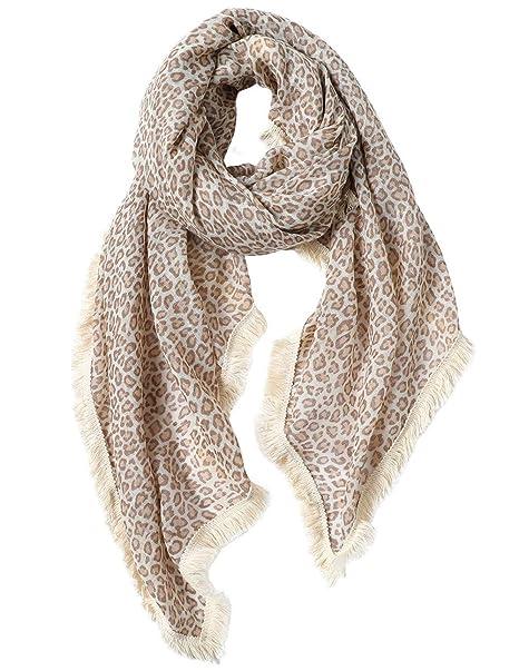 1fc813c837595 CARESEEN Womens Lightweight Scarf Fashion Soft Pashmina Shawls Wraps Fall  Winter Scarves, Leopard-print