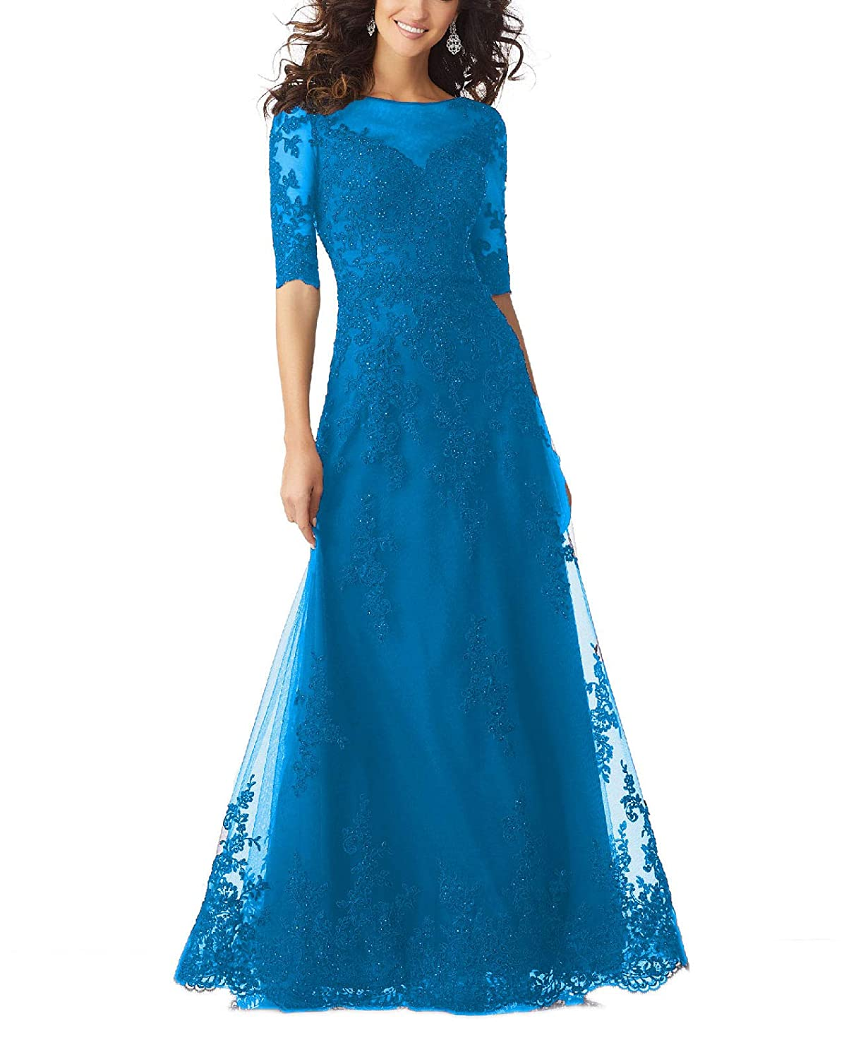 bluee Yisha Bello Women's V Neck Lace Appliques Mother of The Bride Dress Tulle Beaded Half Sleeve Evening Formal Gowns